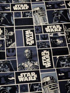 Star Wars marine bleu blanc carrés - graisse trimestre tissu coton imprimé