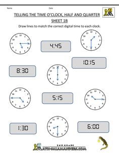 4th Grade Math Worksheets | clock Half and Quarter Sheet 1B O'clock Half and Quarter Sheet 1B ...