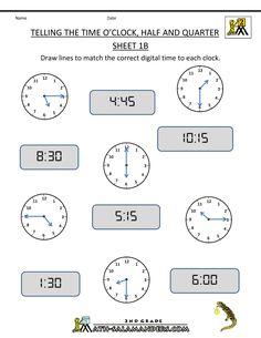 4th Grade Math Worksheets | clock Half and Quarter Sheet 1B O'clock Half and Quarter Sheet 1B ...