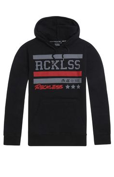 PacSun presents the Young & Reckless Bandman Large R Hoodie for men. This soft men's hoodie comes with a comfortable fleece interior, black body, and multiple Young & Reckless graphics on front.	Black hoodie with Young & Reckless logo on chest	Matching hood and drawstrings	Front pocket pouch	Fleece lining	Long sleeves	Machine washable	60% cotton, 40% polyester	Imported