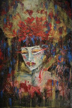 """Купить картина """"Незнакомка"""" - комбинированный, девушки, портрет, подарок для девочки, необычный подарок, живопись на холсте"""