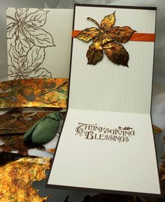 Plane Tree Branches - Card interior & envelope (on left) - Alcohol ink painted foil, stamped & die cut leaf. SU wood grain texture embossed folder. Envelope; heat embossed leaves in brown.