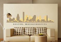 BOSTON MASSACHUSETTS Skyline Wall Decal Art by AmericanDecals