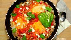 Shakshuka met bulgur, spinazie en feta