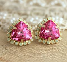 Hand Made 14k Yellow Gold Plated Stud Earrings w/ Swarovski Crystal #Stud