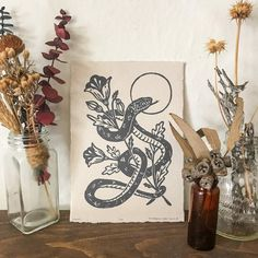 Snake and Poppies Linocut on Handmade Paper, Hand-Pulled Print, Gold ink on Black Paper, Limited Edi Flower Drawing Tutorials, Linoleum Block Printing, Poppies Tattoo, Linoprint, Tattoo Flash Art, Black Paper, Gold Ink, Linocut Prints, Thing 1