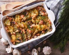 Hearty And Jam-Packed Side Dish: Cheesy Mushroom Bacon Potato Gratin I would skip the mushrooms. Bacon Potato, Potato Sides, Potato Side Dishes, Potato Recipes, New Recipes, Cooking Recipes, Favorite Recipes, Vegetable Side Dishes, Vegetable Recipes