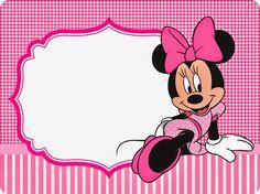 Minnie Cuadros Rosa: Invitaciones y Etiquetas para Candy Bar para Imprimir Gratis.