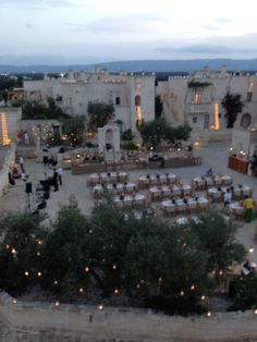 Rehearsal dinner in the courtyard at Borgo Egnazia - the view from our patio before the fun!
