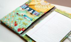 Lovely idea for inside notebooks - Fabric Portfolio and Notepad Holder Tutorial - The Cottage Mama Sewing Tutorials, Sewing Hacks, Sewing Patterns, Fabric Crafts, Sewing Crafts, Sewing Projects, Fabric Paper, Pochette Diy, Fabric Book Covers
