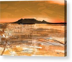 ' Table Mountain Journal ' - Art Photography Table Mountain Journal - A chromatic impression of famous landmark, Table Mountain in Cape Town; Abstract Landscape Painting, Landscape Prints, Landscape Art, Landscape Paintings, Mountain Sunset, Mountain Landscape, Digital Art Photography, Landscape Photography, Le Cap