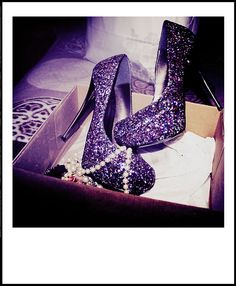 These purple glitter heels are hot.