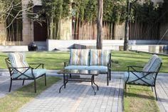 Patio Set Furniture Home Outdoor Cushion Blue 4 Piece Deck Garden Poolside Stool