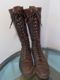 VTG 40s WWII BOOTS Brown Leather 19 eyelet Seiberlings Heel Steampunk Moto GUC  in Clothing, Shoes & Accessories, Vintage, Men's Vintage Shoes | eBay