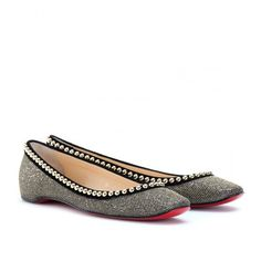 See this and similar Christian Louboutin flats - Gold mesh ballerinas with gold-toned stud detailing. Black underlay and trim. Slightly squared cap. Textile upp...