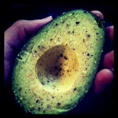 halved avocados with salt and pepper   - another favorite food