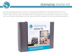 Check out the NEW Silhouette Stamp kit. You can cut clear stamps with your Silhouette! I'm so excited about this! Silhouette Cameo Tutorials, Silhouette Projects, Silhouette Machine, Silhouette City, Silhouette Portrait, Stamp Making, Vinyl Cutting, Clear Stamps, Starter Kit