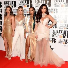 Little Mix went with a gold and white colour scheme at the BRIT Awards 2016.