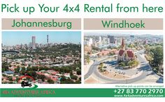 We make it easier for you to pick up your rental vehicle from our Johannesburg or Windhoek branches. Alternative pick up points can be arranged ahead of time. Car Rental, Pick Up, Branches, 4x4, Vehicle, Alternative, Africa, Explore, Adventure