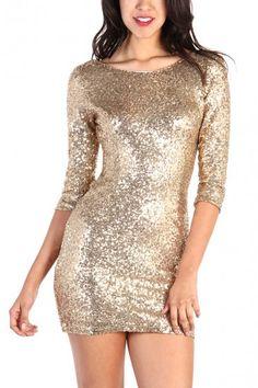 Gold Sequin Dress - Gold