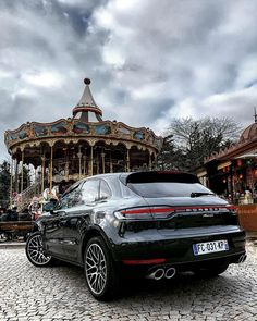 Step aside carousel. There is a new favorite ride in town. (📸: ___ Combined fuel consumption in accordance with EU Macan: km; emissions: 185 g/km Porsche Suv, Porsche Macan Turbo, Suv Cars, Sport Cars, Costa Rica, Car Drawings, Love Car, Amazing Cars, Exotic Cars