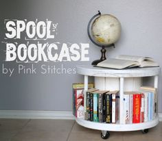 Spool Bookcase (Tutorial) - and on rollers too - easy to move around \'""