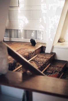 Wooden stairs and antique Persian stair runner Apartment Therapy, Balustrades, Home Modern, Wooden Stairs, Carpet Stairs, Hall Carpet, Humble Abode, Stairways, My Dream Home