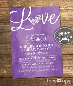 Watercolor Bridal Shower Invitation, Love, Art, Purple, Retro, Printable File (Custom Order, INSTANT PROOF) by InvitingDesignStudio on Etsy