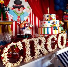 Themes for birthday parties according to age for child - Celebrat : Home of Celebration, Events to Celebrate, Wishes, Gifts ideas and more ! Carnival Party Foods, Circus Carnival Party, Circus Theme Party, Carnival Birthday Parties, Circus Birthday, First Birthday Parties, Birthday Party Themes, Birthday Ideas, Circus 1st Birthdays