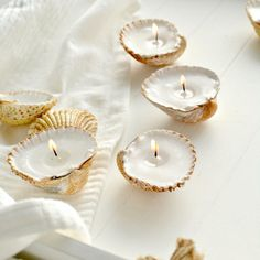 DIY handmade shell candles