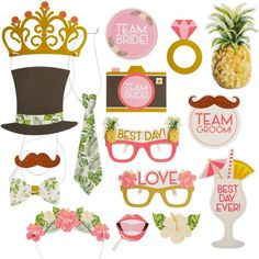Create sweet memories at your tropical wedding with these Tropical Wedding Photo Booth Props! These photo props have cardstock cutouts attached to plastic sticks that include shapes of flowers, glasses, and hats. Halloween Costume Shop, Halloween Costumes For Kids, Wedding Photo Booth Props, Photo Props, Personalized Favors, Wedding Events, Wedding Decor, Wedding Reception, Wedding Ideas