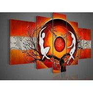 Hand Painted   Red Big Tree Space Dance Landscape Oil Painting Canvas5pcs/set Wood