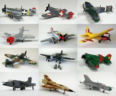 1:48 scale planes in Lego.