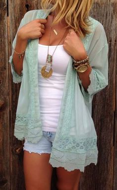 #spring #outfits Mint Tulle Cardigan + White Tank + Bleached Denim Short