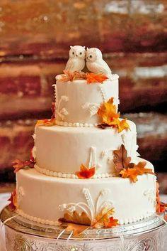 Owl fall wedding cake
