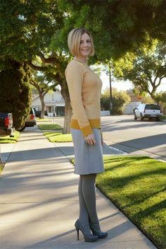 Yellow sweater + gray pencil skirt