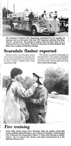 South Belt Houston Digital History Archive: Fall 1982 Flasher and Fire Training