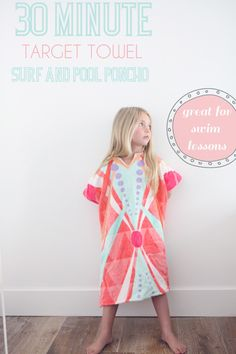 DIY beach poncho... 30 minute craft out of a target towel. great for your changing your kids at the pool and beach.