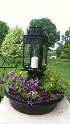 "Lantern container garden paint 12 X 6 X 6"" green treated lumber black Attach"