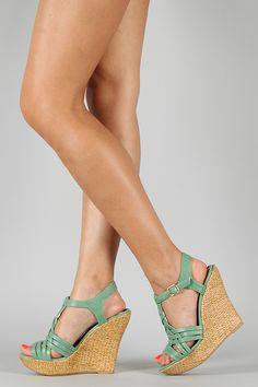 Qupid Ceduce-347 Strappy Open Toe Platform Wedge in sage #UrbanOG #Contest #SummerSaleFavorites