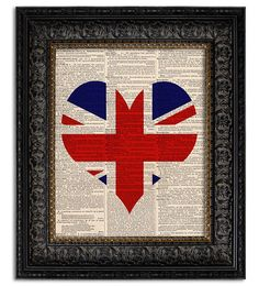 UNION JACK FLAG Art Print, Heart Shaped British Flag, wall decor, art print, dictionary art print on Etsy, $10.00