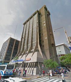 Brutalist deep cuts from South America Part 2:  Jacques Crousse / Jorge Páez: Banco De Crédito Del Perú Agencia Miraflores Lima Peru 1979  Photo:  Google Street View 2014