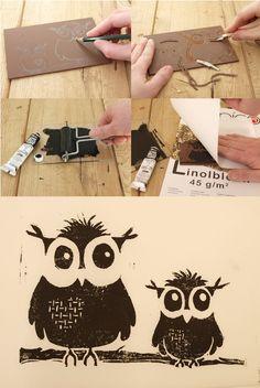 Linolschnitt selbst anfertigen und anschließend mit Linoldruck Postkarte bedrucken
