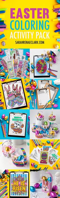 Check out this HUGE Easter Coloring Activity Pack! It includes Easter bookmarks, coloring pages, greeting cards, gift bag templates, Easter egg basket templates and Easter stationery! Almost 50 pages of printable Easter fun. Get it all at http://sarahrenaeclark.com/shop/easter-coloring-activity-pack/