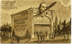 The Zone is my favorite part of the Panama-Pacific International Exposition, mostly because of its wild architecture. This postcard image shows the Judell Smokeshop on the Zone complete with a giant head with a cigar in its mouth.