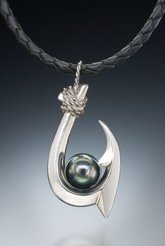 Double Barb (Kauai Style) Tahitian Pearl Pendant in sterling silver Pearl Beads, Pearl Jewelry, Jewlery, Fish Hook Jewelry, Tahitian Black Pearls, Fish Art, Pearl Pendant, Kauai, Pendants