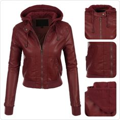 Womens Faux Leather Moto Bomber Jacket with Fleece Hoodie | Fleece ...