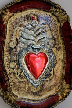 Mexico Tin sacred heart tray