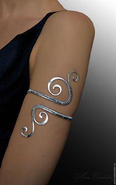 """Купить Браслет на плечо """"Вензеля"""" (нейзильбер) - серебряный, браслет на плечо, плечевой браслет, медный браслет"""