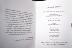 The funeral program for the service includes a quote from Joan on one side, and the order of the service on the other.